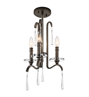 Kichler 43286OZ Tara Collection Mini Chandelier 3 Light in Olde Bronze