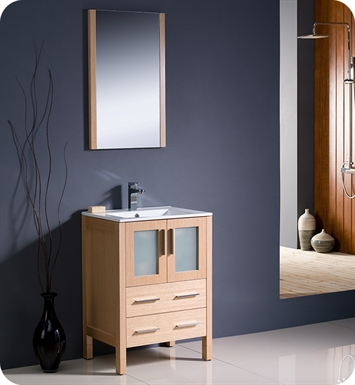 "Fresca FVN6224LO-UNS Torino 24"" Modern Bathroom Vanity with Integrated Sink in Light Oak"