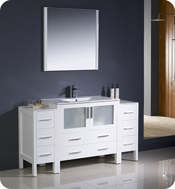 "Fresca FVN62-123612WH-UNS Torino 60"" Modern Bathroom Vanity with 2 Side Cabinets and Integrated Sink in White"