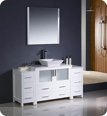 "Fresca FVN62-123612WH-VSL Torino 60"" Modern Bathroom Vanity with 2 Side Cabinets and Vessel Sink in White"