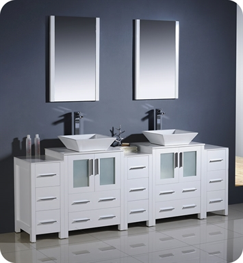 "Fresca FVN62-72WH-VSL Torino 84"" Double Sink Modern Bathroom Vanity with 3 Side Cabinets and Vessel Sinks in White"