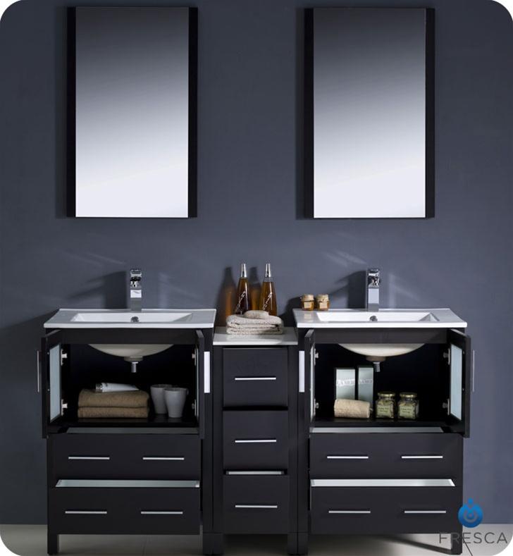 Fresca fvn62 241224es uns torino 60 double sink modern for Decorplanet bathroom vanities
