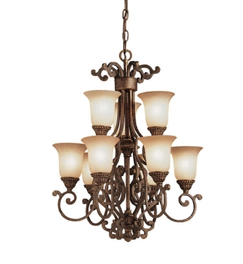 Kichler Larissa Collection Chandelier 9 Light in Tannery Bronze with Gold Accent
