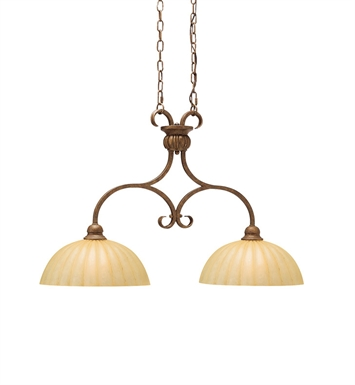 Kichler 2922LBZ Northam Collection Chandelier Island 2 Light in Lincoln Bronze