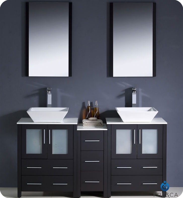 sink modern bathroom vanity with side cabinet and vessel sinks in
