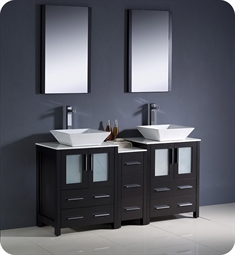 "Fresca FVN62-241224ES-VSL Torino 60"" Double Sink Modern Bathroom Vanity with Side Cabinet and Vessel Sinks in Espresso"
