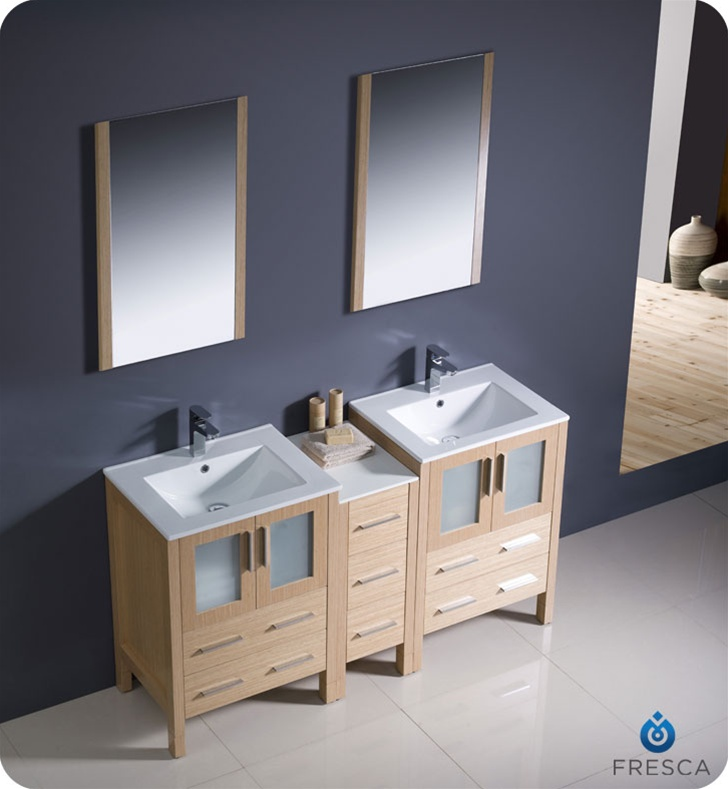 Fresca Fvn62 241224lo Uns Torino 60 Quot Double Sink Modern Bathroom Vanity With Side Cabinet And