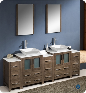 "Fresca Torino 84"" Walnut Brown Modern Double Sink Bathroom Vanity with 3 Side Cabinets and Vessel Sinks"