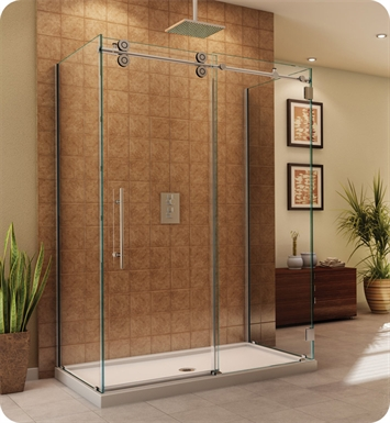 "Fleurco KT36936-35-40R-CH Kinetik in Line Door and Panel with Return Panel (Three Sided) With Dimensions: Width: 69 1/2"" to 71 1/2"" 