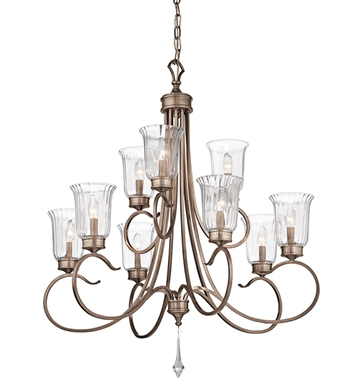 Kichler 43240BRSG Malina Collection Chandelier 9 Light in Bronze