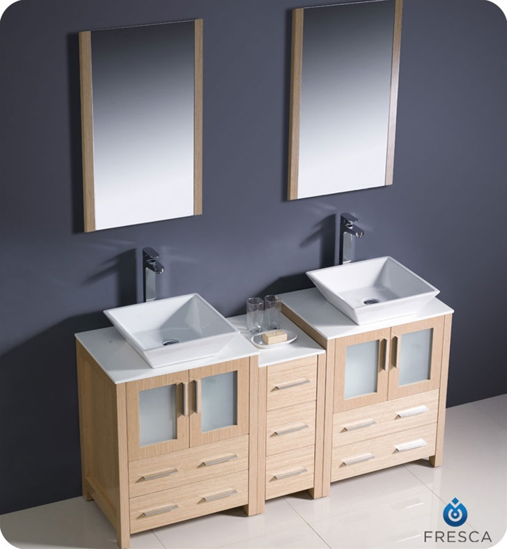 Fresca Fvn62 241224lo Vsl Torino 60 Double Sink Modern Bathroom Vanity With Side Cabinet And