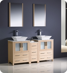 "Fresca FVN62-241224LO-VSL Torino 60"" Double Sink Modern Bathroom Vanity with Side Cabinet and Vessel Sinks in Light Oak"