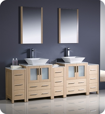 "Fresca FVN62-72LO-VSL Torino 84"" Double Sink Modern Bathroom Vanity with 3 Side Cabinets and Vessel Sinks in Light Oak"