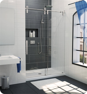 "Fleurco KS53-11-40L-CH Kinetik In Line Door and Panel (One Sided) With Dimensions: Width: 53"" to 55"" 