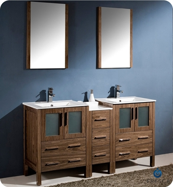 "Fresca FVN62-241224WB-UNS Torino 60"" Double Sink Modern Bathroom Vanity with Side Cabinet and Integrated Sinks in Walnut Brown"