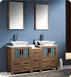 "Fresca Torino 60"" Walnut Brown Modern Double Sink Bathroom Vanity with Side Cabinet and Vessel Sinks"