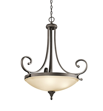 Kichler 43164OZ Monroe Collection Inverted Pendant 3 Light in Olde Bronze