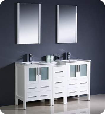 "Fresca FVN62-241224WH-UNS Torino 60"" Double Sink Modern Bathroom Vanity with Side Cabinet and Integrated Sinks in White"
