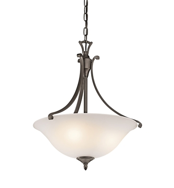 Kichler 43405OZ Wellington Square Collection Inverted Pendant 1 Light in Olde Bronze