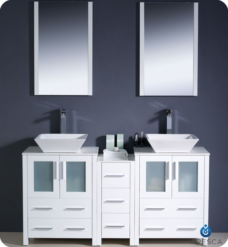 Fresca FVN62 241224WH VSL Torino 60 Double Sink Modern Bathroom Vanity