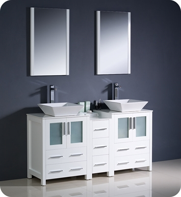 "Fresca Torino 60"" White Modern Double Sink Bathroom Vanity with Side Cabinet and Vessel Sinks"
