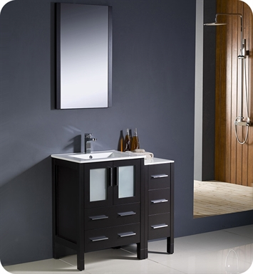 "Fresca Torino 36"" Espresso Modern Bathroom Vanity with Side Cabinet and Integrated Sinks"