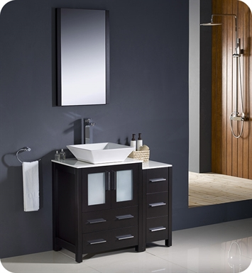 "Fresca FVN62-2412ES-VSL Torino 36"" Modern Bathroom Vanity with Side Cabinet and Vessel Sink in Espresso"