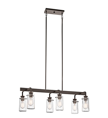 Kichler 43059OZ Braelyn Collection Chandelier Linear 6 Light in Olde Bronze