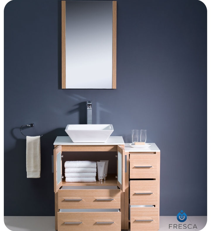 Fresca FVN62 2412LO VSL Torino 36 Modern Bathroom Vanity With Side Cabi
