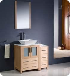 "Fresca FVN62-2412LO-VSL Torino 36"" Modern Bathroom Vanity with Side Cabinet and Vessel Sink in Light Oak"