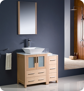 "Fresca Torino 36"" Light Oak Modern Bathroom Vanity with Side Cabinet and Vessel Sink"