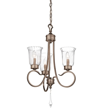 Kichler 43237BRSG Malina Collection Chandelier 3 Light in Bronze