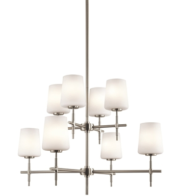 Kichler 43087NI Arvella Collection Chandelier 8 Light in Brushed Nickel