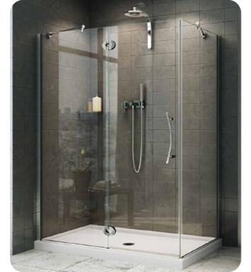 "Fleurco PXLR5142-25-40R-Q-DY  Platinum In-Line Door and Fixed Panel with Return Panel, Glass to Glass Hinges and Support Bar System With Return Panel: 42"" Return Panel And Dimensions: Width: 48 7/8"" to 36 3/4"" 