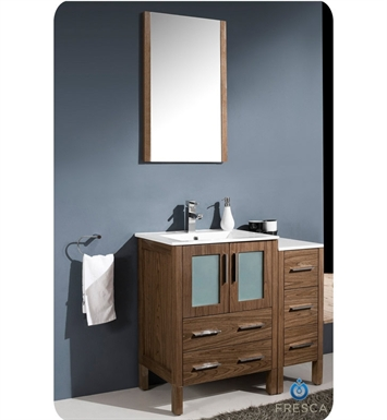 "Fresca FVN62-2412WB-UNS Torino 36"" Modern Bathroom Vanity with Side Cabinet and Integrated Sink in Walnut Brown"