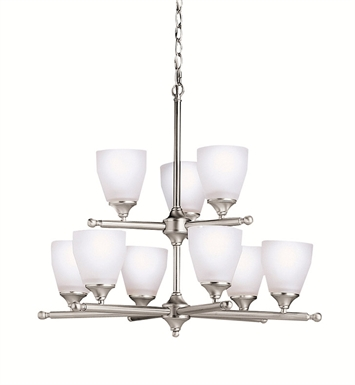 Kichler 1749NI Ansonia Collection Chandelier 9 Light in Brushed Nickel