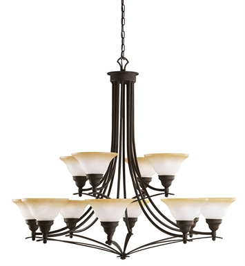 Kichler 2048DBK Pomeroy Collection Chandelier 12 Light in Distressed Black