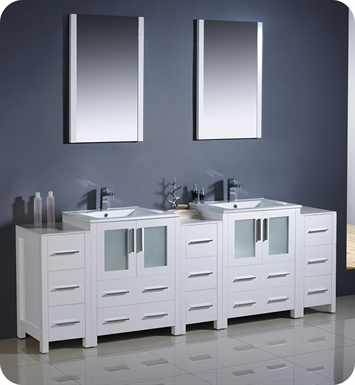 "Fresca FVN62-72WH-UNS Torino 84"" Double Sink Modern Bathroom Vanity with 3 Side Cabinets and Integrated Sinks in White"