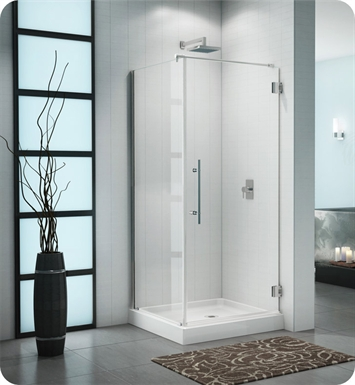 Fleurco PXQ3636-11-40R-Q-CH Platinum Cube Shower Door with Return Panel and Wall Mount Hinges With Dimensions: Width: 32 1/2"