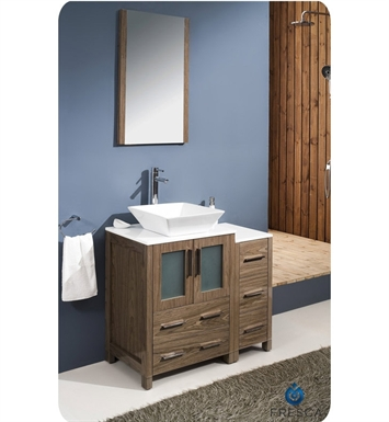 "Fresca FVN62-2412WB-VSL Torino 36"" Modern Bathroom Vanity with Side Cabinet and Vessel Sink in Walnut Brown"