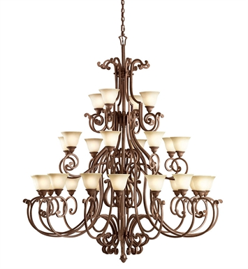 Kichler Larissa Collection Chandelier 28 Light in Tannery Bronze with Gold Accent