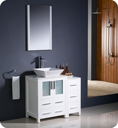 "Fresca FVN62-2412WH-VSL Torino 36"" Modern Bathroom Vanity with Side Cabinet and Vessel Sink in White"