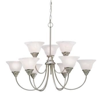 Kichler 10705NI Telford Collection Chandelier 9 Light Fluorescent in Brushed Nickel