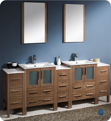 "Fresca FVN62-72WB-UNS Torino 84"" Double Sink Modern Bathroom Vanity with 3 Side Cabinets and Integrated Sinks in Walnut Brown"