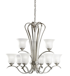 Kichler Wedgeport Collection Chandelier 9 Light Fluorescent in Brushed Nickel