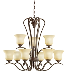 Kichler Wedgeport Collection Chandelier 9 Light Fluorescent in Olde Bronze