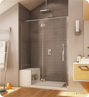 Fleurco PLALP57-11-40R-R-B Platinum In Line Door and Panel with Glass to Glass Hinges With Hardware Finish: Bright Chrome And Glass Type: Clear Glass And Door Direction: Right And Shower Door Handles: Curved And Shower Door Hinges: Round