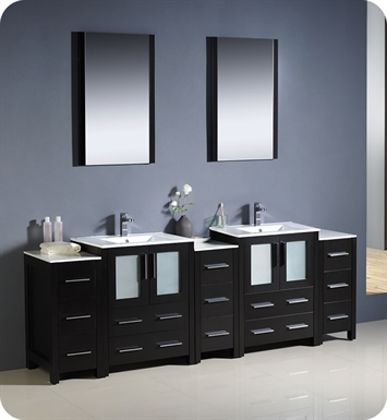 "Fresca FVN62-72ES-UNS Torino 84"" Double Sink Modern Bathroom Vanity with 3 Side Cabinets and Integrated Sinks in Espresso"