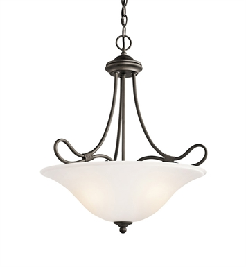 Kichler 3356OZ Stafford Collection Inverted Pendant 3 Light in Olde Bronze