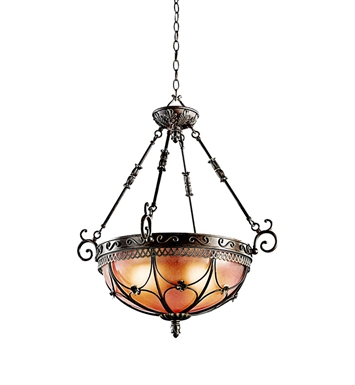 Kichler 42229TRZ Inverted Pendant 3 Light in Terrene Bronze